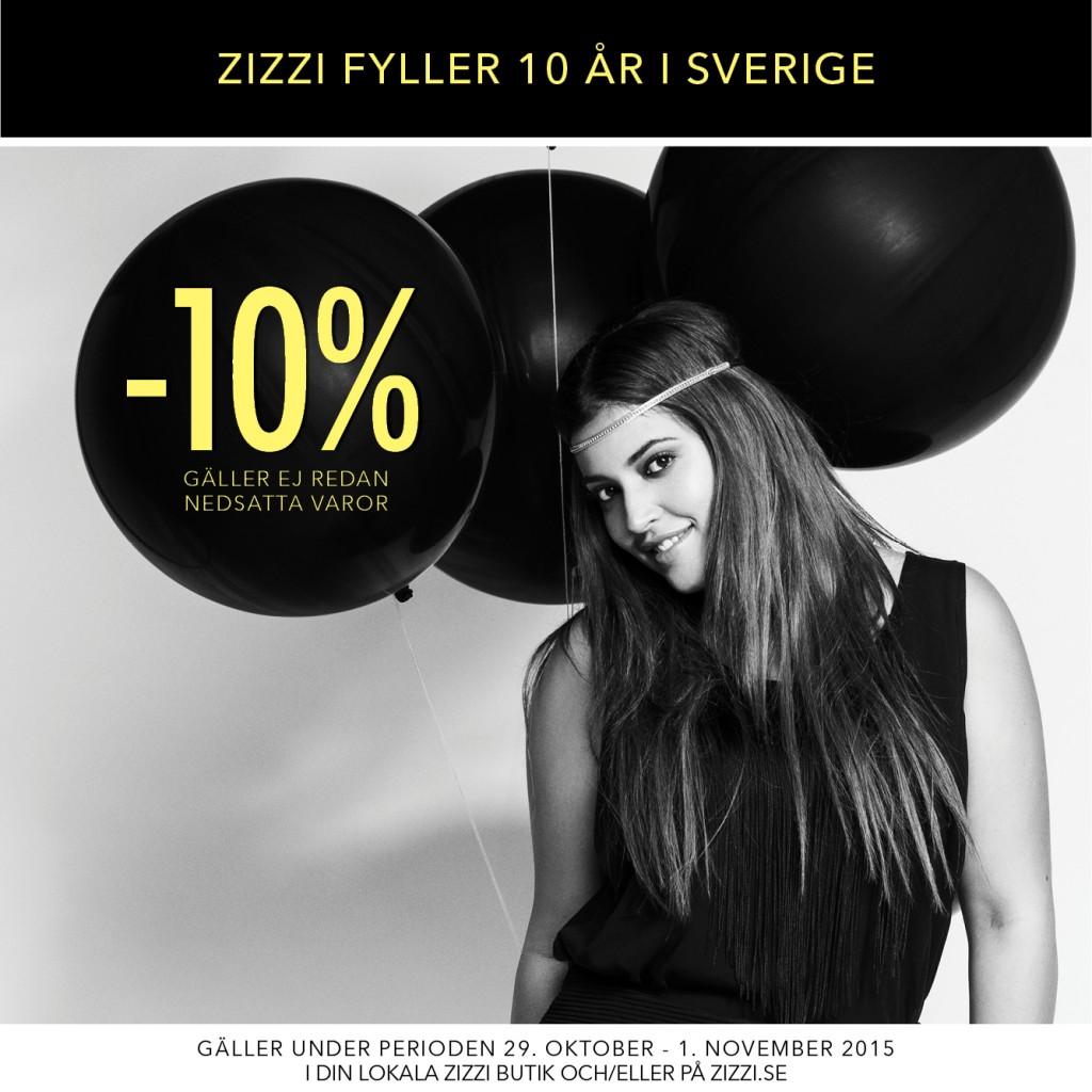 Zizzi fyller 10 år och firar med 10% rabatt
