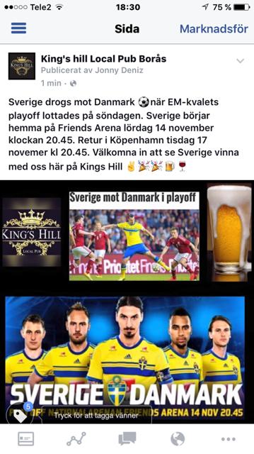 Heja fram Sverige på King's Hill lördag 14 nov