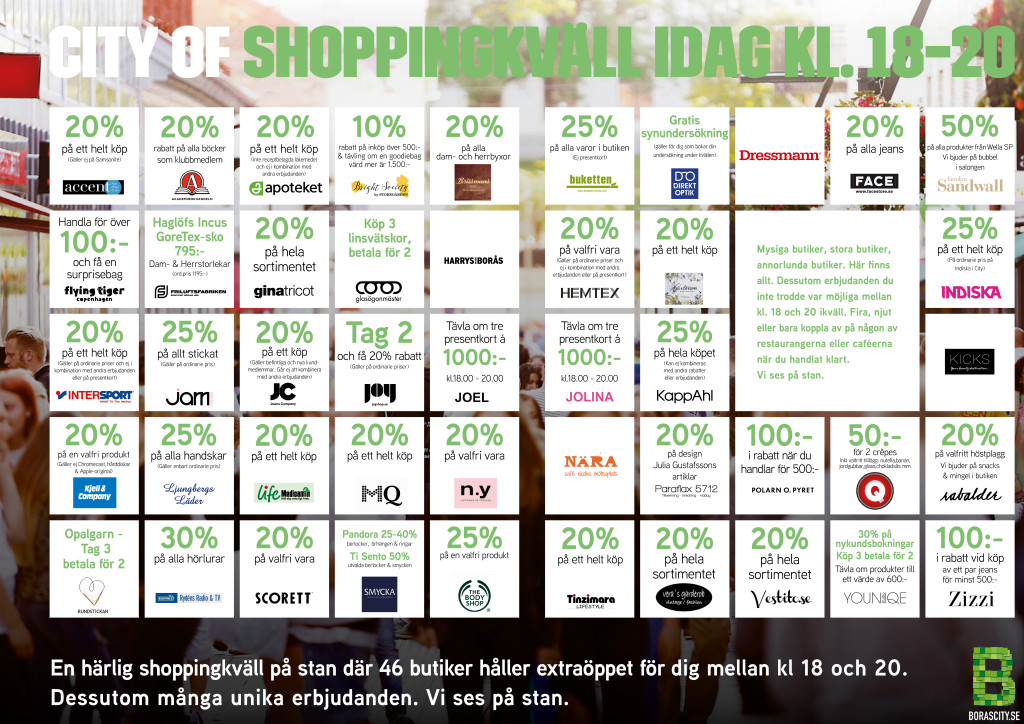 Shoppingkväll i Borås City 27:e oktober