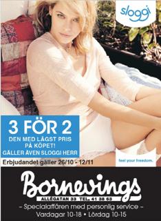 3 för 2 på Sloggi hos Bornevings
