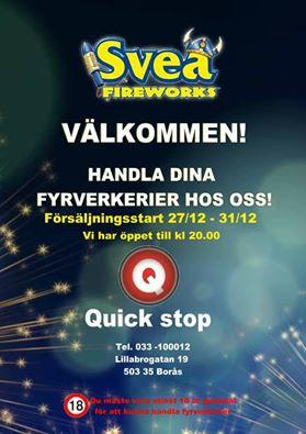 Quick Stop erbjuder fyrverkerier till nyår