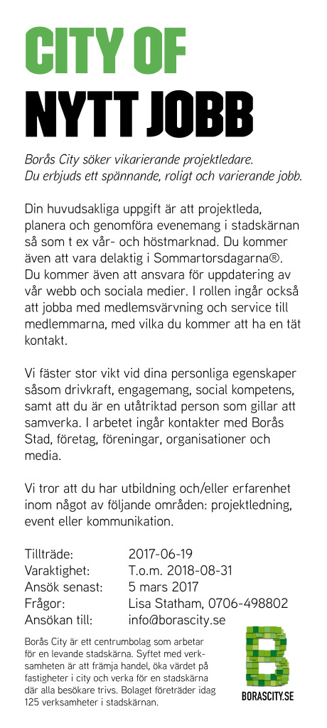 Borås City söker vikarierande projektledare