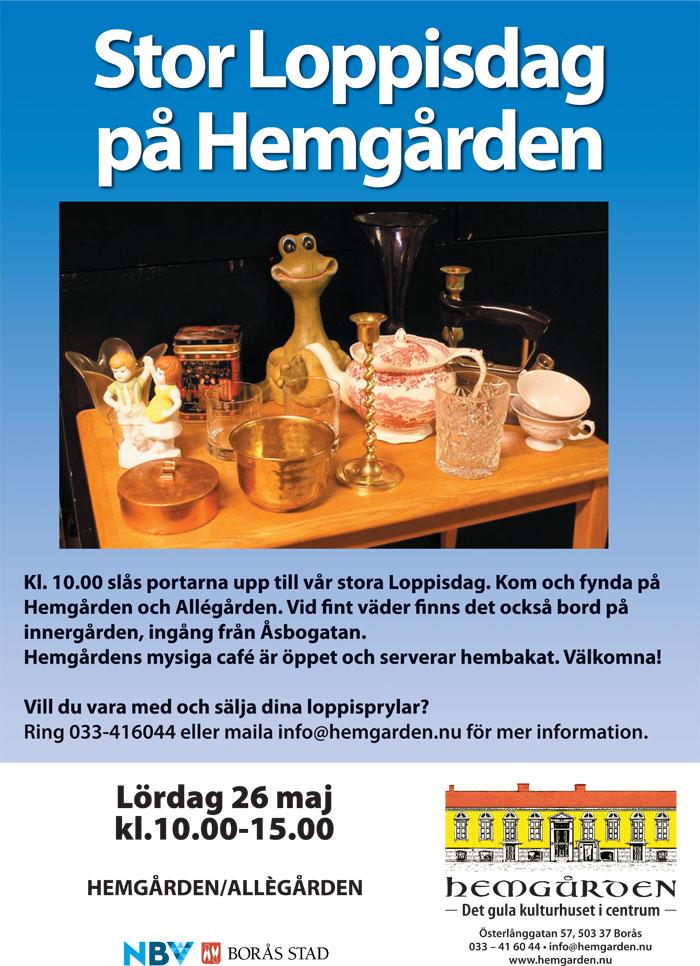 Loppis på Hemgården, lördag 26 maj kl 10-15