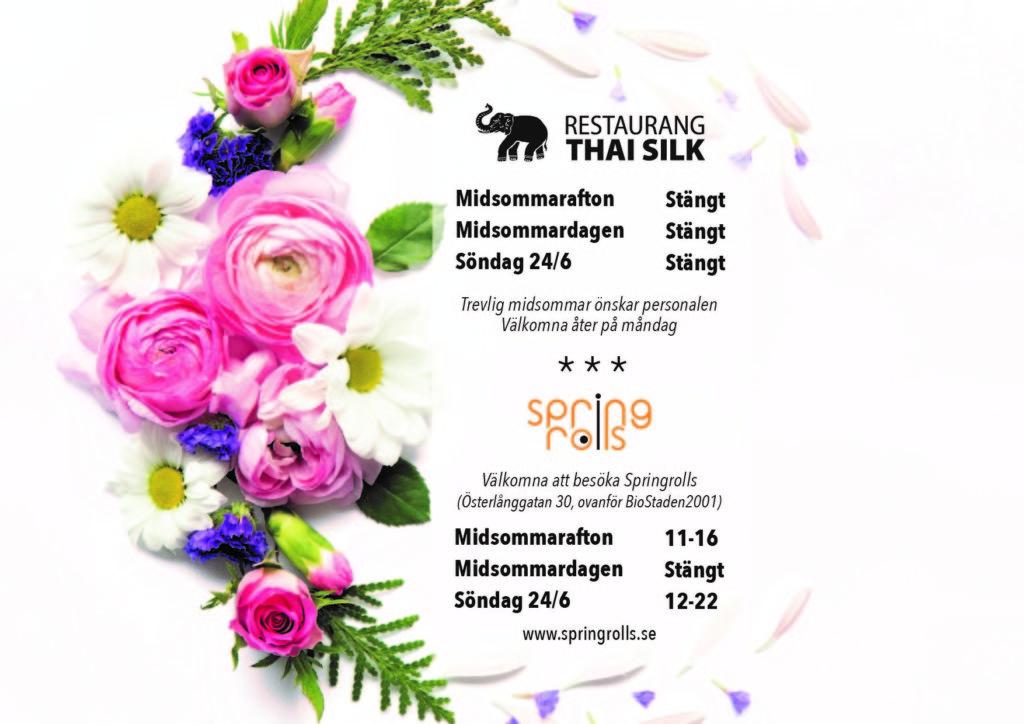 Öppettider under midsommarhelgen hos Thai Silk och Springrolls