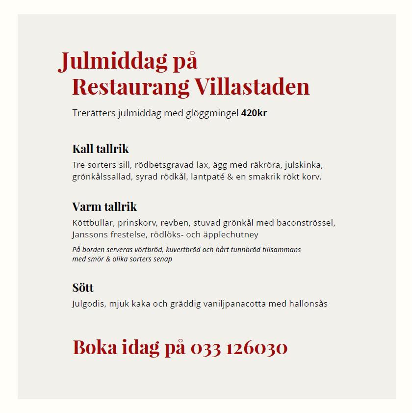 Julmiddag med det där lilla extra hos Restaurang Villastaden